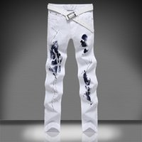 Wholesale Brand Ratings - 2016 new white jeans black flame printed jeans designer brand high rate man jeans pants casual mens joggers JKFUN size 28 to 46