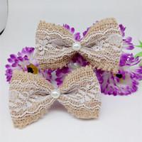 Wholesale Lace Craft Bows - Wholesale- New 10pcs Jute Burlap Hessian Ribbon cute Bowknot Vintage Wedding Decoration Burlap Scrapbooking white lace Hair Bow Hat craft*