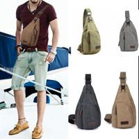 Wholesale Travel Body Wallets - Men Chest Canvas Package Shoulder Sports Bag Crossbody Wallet Crossbody Shoulder Bag Military Messenger Casual Travel Chest Bag KKA2326