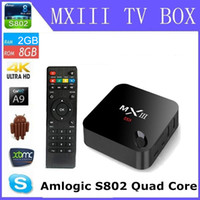 Wholesale Android Tv Box A9 Quad - Android tv box MXIII-G Amlogic S802 Cortex-A9 Andorid 4.4 TV BOX Quad-core 1000M LAN 2GB 8GB 2.4GHz WiFi BT4.0 H.265 MXIII G MX3