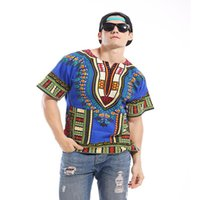 Wholesale Contrast Dress Men - 2016 The Latest Summer Flower Dress Man Big Code Printing T-shirt National Wind African Wind