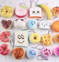 Wholesale Squishy Phone Charms - Random 10 Pack Squishy Toys Charms Cell Gift Phone Straps Donut Soft Squishies Slow Rising Squishies Jumbo Buns Phone Pendant KKA2429