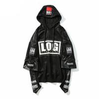 Wholesale Rap Hoodies - Winter Jacket Hoodie Men Sweatshirts 2pc Leather Stitching Rock Style 3d Printed Hoodies Rap Male Sweatshirt