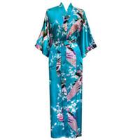 ingrosso vendita yukata-All'ingrosso-Vendita calda Lago Blue Femmes Rayon Robes Gown Kimono Yukata Donne cinesi Sexy Lingerie Fiore Sleepwear Plus Size M L XL XXL XXXL