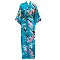 Wholesale Sexy Plus Size Robe Lingerie - Wholesale-Hot Sale LakeBlue Femmes Rayon Robes Gown Kimono Yukata Chinese Women Sexy Lingerie Flower Sleepwear Plus SizeS M L XL XXL XXXL