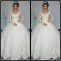 Wholesale Gorgeous Beaded Muslim Wedding Dress - Gorgeous Sheer Ball Gown Wedding Dresses 2017 Puffy Lace Beaded Applique White Long Sleeve Arab Wedding Gowns robe de mariage