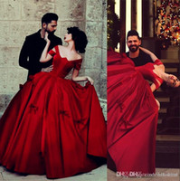 Wholesale Dance Party Princess Ball Gowns - Burn Red Vintage Satin Saudi Arabic Off Shoulder Ball Gown Prom Dresses Princess Dancing Wear Women Party Evening Dresses wd11