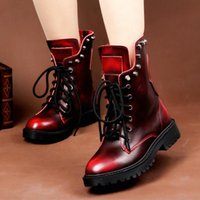 Wholesale Leather Shoes Women England - New England Style Dr 100% genuine leather Rivet Martin Boots Martin Shoes Men&Women Short boots Designer Motorcycle Boots Size 35-41
