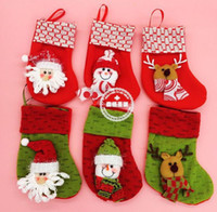 Wholesale 2016 style Christmas decorations socks scene decorations cheap mini Christmas cartoon socks factory direct B3