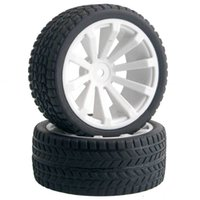 Wholesale hsp rc tires - 4pcs RC HSP 602-6088 Flat Racing Tires White Wheel Rim Fit 1:10 On-Road Car