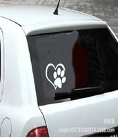 Wholesale Red Reflective Stickers - Decal Sticker PAW HEART Vinyl Decal Sticker Window Wall Bumper Animal Adopt Dog Cat Love Pet Car Decal Sticker Decal Sticker Sticker Bomb