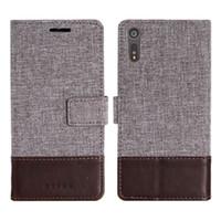 xperia silikon kılıf toptan satış-Muxma flip case iş cüzdan deri kapak için sony xperia xz1 kompakt xperia xa ultra case silikon kart yuvaları telefon kılıfları