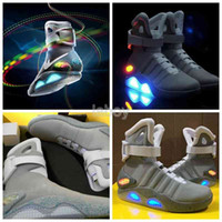 Wholesale Easter Led Lights - 2016 Air Mag Men Limited Edition Back To The Future McFly Mags,Grey Basketball Shoes With LED Lights Sneakers High Quality Sport Shoes