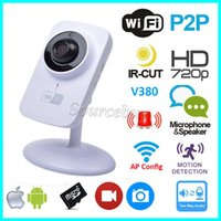 Wholesale Cctv Cards - V380 Wifi IP Camera Wireless HD 720P 1280*720 Security P2P Monitor Night Vision Surveillance CCTV Smart Camera Support TF Card Free Shipping