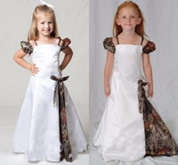 Wholesale Prom Camouflage Dresses - 2016 Camo Flower Girl Dresses For Wedding Spaghetti Cap Sleeve A Line Girls Pageant Gowns Kids Party Dresses Camouflage Kid Prom Dresses