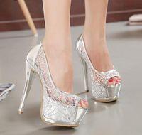 Wholesale Silver Glitter Lace Heels - New Sexy Silver Gold Bridal Pumps Peep-Toe Glittering Stiletto Heel Wedding Dress Shoes