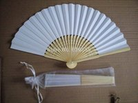 Vente en gros- Hot saling 1 pcs / lot blanc pliant élégant papier Hand Fan avec sac cadeau WeddingParty Favors 21cmng