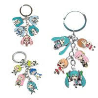 Wholesale Hatsune Miku Keychain - Anime Hatsune Miku SNOW MIKU Metal Figure Pendants Keychain 5 small doll pendants with Key Ring Christmas Gifts
