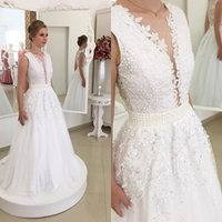 Wholesale Dramatic Wedding Dresses - 2017 Glamorous Dramatic A-line V-Neck Lace Formal Wedding Dresses Floor Length Beaded Lace-up Elegant Bridal Gowns