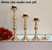 Wholesale Metal Centerpieces - cheap New products elegant metal gold flower stand & candle holder wedding centerpieces for wedding table decorations