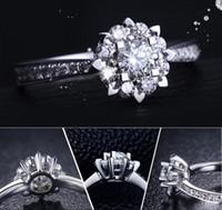 anéis de casamento de prata e prata puro venda por atacado-ZHF Jóias Românticas Flor de Neve CZ Anéis De Casamento Do Diamante para As Mulheres 100% Pura 925 Anel De Prata Sólida Nupcial Jóias de Noivado