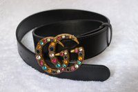 Wholesale Xl Ladies Designer Belts - hot NEW High quality ladies fashion belt G multicolor crystal buckle luxury brand belt designer belt leather waistband for gift.