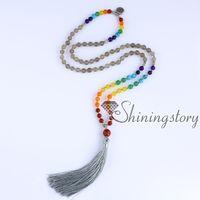 Wholesale Silver Tibetan Prayer Beads - chakra necklace 108 tibetan prayer beads seven chakra stone necklace wholesale spiritual jewelry spiritual jewellery uk