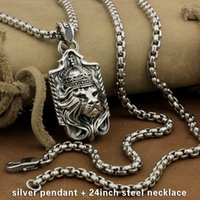 Wholesale King Chain 925 - LINSION 925 Sterling Silver Lion King Pendant Sword Cross Mens Biker Rock Punk Style 9M019 Stainless Steel Necklace 24 inches