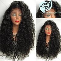 peluca de cola de caballo de pelo negro al por mayor-Glueless High Ponytail brasileño rizado pelucas llenas del cordón para las mujeres negras 8A Virgin Hair Lace peluca delantera del rizo con el pelo del bebé
