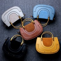Wholesale Black Yellow Saddle - The new vintage saddle Fashionable leather handbags Metal ring bag female saddle bag single shoulder bag