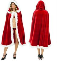 Wholesale Santa Dress Adult - 1113008 Christmas Cosplay Sexy Karneval Clothes Women Dress Cosplay Costumes For Adults Santa Claus Cloak Hooded Costumes Velvet Blend Cape
