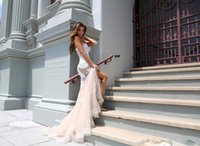 Wholesale Strapless Nude Beaded Mermaid - Modest Sexy Strapless Mermaid Ceremony Wedding Dresses Nude Tulle White Satin Appliques Beaded Bridal Gowns Free Style Custom Made Dress