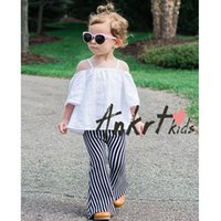 Wholesale Chinese Fashion Jeans - Ins 2016 New Fashion Baby Boy Girl Pants Black White Stripe Cotton Flare Pant Children Clothing 1-4T 1778 Only Include Pant