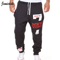 Wholesale Harem Pants Men Grey - Wholesale-2016 Autumn Summer Fashion Sports Pants Jamickiki Trousers Sweatpants For Men Street And Harem Pants Print New York 7 Joggers