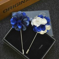 Wholesale cheap red suits for men - Price Cheap Luxury Flower Brooch lapel Pins Handmade Boutonniere Stick with assorted color flowers for Gentleman suit wear Men Accessories