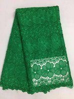 Wholesale Lace Fabric Wedding Dresses China - China fabric market wholesale mesh flower african lcae fabrics Nigerian swiss lace for wedding dress making 5yards green color