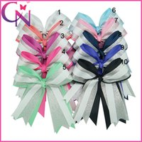 Wholesale Cheerleading Wholesalers - Boutique 20 pcs lot 6 inch Solid Ribbon Cheer Bow Silver Organza Girl Baby Three Layers Cheerleading Bows With Alligator Clip