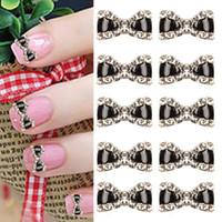 Wholesale 3d Nail Art Bows - 10pcs 3D Metal Rhinestone Bowknot bow Nail Art Glitters Decoration Manicure Tips