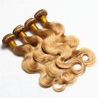 Wholesale Honey Blonde Hair Weave - 27 Honey Blonde Hair Bundles 8A Grade Honey Blonde Body Wave Hair Weaves 300G Lot Peruvian Human Hair Extensions On Sale