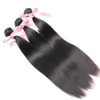 renk 32 saç örgüsü toptan satış-Boyanabilir Kamboçyalı Bakire Saç Işlenmemiş Doğal Renk Ipeksi Düz Çift Atkı Insan Saçı Örgü 10
