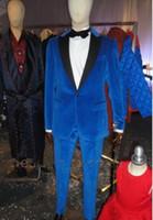 Wholesale Designer Mens Slim Fit Tuxedo - Royal Blue Velvet Tuxedos For Men Slim Fit Mens Wedding Tuxedo Custom Made Designer Mens Suits (Jacket+Pants)
