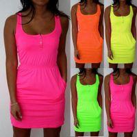 Wholesale Low Cut Tank Dress - Hot Women casual Dresses Summer 2016 Candy fluorescence Color Low Cut Buttons Pleated Waist cotton Tank Dress Causal Sport Dress