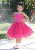 Wholesale Spaghetti Strap Peach Girls - Best Selling New Arrival 2014 Flower Girl Dresses Peach Tulle Waist High Spaghetti Straps Sequins Custom Made Knee Length Party Gowns