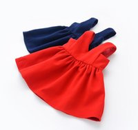 Hug Me Baby Girls Tutu Kleider Red Navy Kinder Ärmellos für Kinder Kleidung 2016 New Party Dress