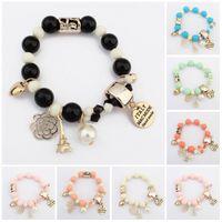 Wholesale Acrylic Letter Beads Wholesale - Charm Bracelets for Women Men Jewelry Fashion Bracelets & Bangles Beads Letter Eiffel Tower Heart Italy Bijouterie Bead Bracelet