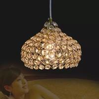 Wholesale Lustres Pendentes Led - 2016 Led Iron Crystal 18cm Simple Modern Restaurant Pendant Lights For Dining Room Modern Pendentes E Lustres Pendant Lamp
