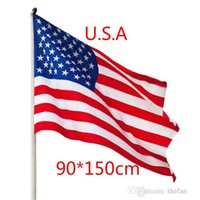 Wholesale Office Usa Wholesale - USA Flags American Flag USA Garden Office Banner Flags 3x5 FT Bannner Quality Stripes Polyester Sturdy Flag 150*90 CM By DHL