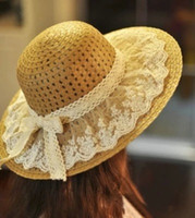 Wholesale Straw Sombreros - Summer straw hat lace brim sombrero floppy beach hat for women 5 colors available