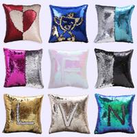 Wholesale Fabric Sofas Sets - Hot Sale Two Color Sequins Pillowcase Suede Car Sofa Cushions Sets of European Pillow Covers 40*40cm