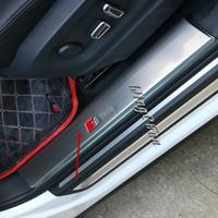 guarnição do peitoril venda por atacado-Acessórios de Aço Inoxidável porta sline Scuff Plate Guarda Sill Molding Guarnição Para Audi Q5 2010-2015 4 pçs / set